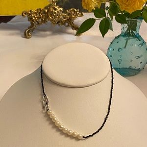 Black Spinel Pearl Silver Clasp Strand Necklace